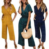 Women Polka Dot Beach Long Playsuit Romper Ladies Wide Leg Jumpsuit Summer