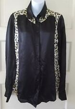 JUST CAVALLI WOMEN'S ANIMAL PRINT SILK BLOUSE SZ IT. 46
