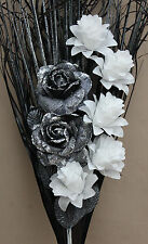 LUXURY HANDMADE ARTIFICIAL SILK BLACK-SILVER GLITTER ROSE WHITE FLOWERS BOUQUET