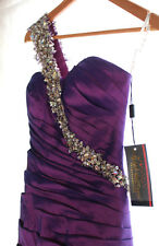 NWT Night Moves by Allure Purple Sequined Mermaid Dress Pleated Prom Gown 4 $368