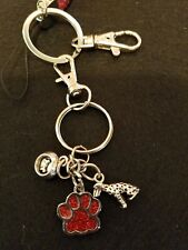 Dalmatian Charm Keychain Lanyard with Sparkly paw print and peach lanyard