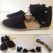 Size 39 or Size 8 Women's Flats Black Fabric Upper With Wicker Sole (Sportsgirl)