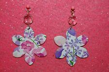 Floral Genuine Leather Flower Earrings W/Pink Crystal Bead-Sterling Silver Hooks