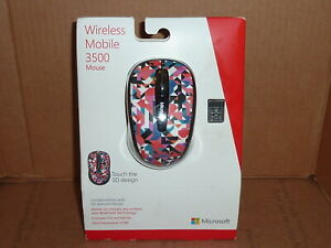 MICROSOFT LIMITED EDITION GEO PRISM 3D TEXTURED 3500 WIRELESS MOUSE w USB - NEW