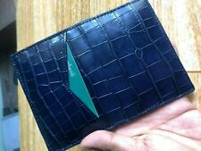 Blue Credit Card Holder Wallet DOUBLE SIDE Crocodile, Genuine Alligator Leather