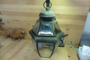 Vintage copper wall mount lamp beveled glass