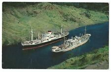 Two Ocean Liners Passing In the Culebra Cut, Panama Canal PPC, Unposted