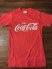 VTG 80s 90s Enjoy Coca Cola Logo Red Smile Soft 50/50 Small/med T-Shirt Made USA