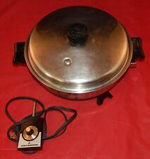 Vntg Saladmaster #7817 Stainless Steel Electric Skillet w/Egg Poacher & Vapo Lid