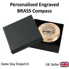 Personalised Engraved Coordinate Brass Compass In Gift Box  - GIFT
