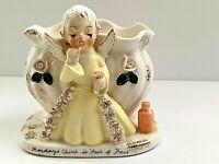Vintage NAPCO Angel Porcelain Figure Small Vase or Pen/Pencil Holder - Adorable
