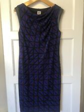 Anne Klein Size 10 Straight Shift Dress Black Blue Stretchy Sleeveless VGC