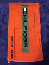 Vintage Tommy Hilfiger Towel Big Logo Beach Bath Orange Green Vtg