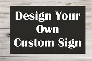 Personalised BLACK Plastic Sign Custom Made Board Indoor Outdoor Use Text Colour