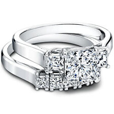 Band set 14K Solid White Gold Rings 1.50 Ct Princess Cut Diamond Engagement Ring