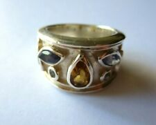 PERIDOT, CITRINE & IOLITE  RING STERLING SILVER SIZE  AUS/ L1/2   US/ 5 3/4