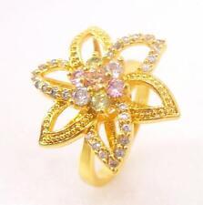 Mujer 24K Oro Amarillo Grande Ruidoso Flor CZ cúbicos Anillo De Compromiso N