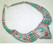 """Coral Tribal Silver Necklace 18 1/2"""" Stunning Santa Rosa Turquoise & Red"""