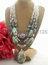 R011306 Excellent! Moonstone&Paua Abalone Shell&labradorite Necklace