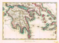 "Dower Map -1836- ""MAP OF SOUTHERN GREECE""  Hand-Colored Lithograph (Orr & Smith)"