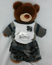 Build a Bear Skater Camo Plush Stuffed Bear Animal Toy Skate Board Half Pipe