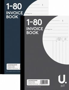 Full Size A5 Invoice Duplicate Receipt Book Numbered Cash 1 - 80 Pages F&F UK