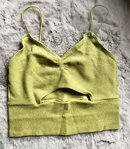 Urban Outfitters Cassi Cut-Out Cami Lurex Top In Gold Size M RRP£20