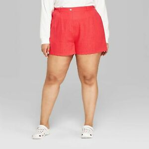 Wild Fable High Rise Trouser Shorts Womens Size XL Red Linen Blend NWT