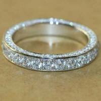 1.00 Ct Round Cut Diamond 14k White Gold FINISH Full Eternity Wedding Band Ring