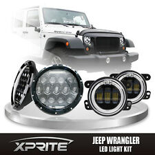 """7"""" 75W CREE LED Headlights DRL with Fog Light Amber Halo Combo For 07-17 Jeep"""