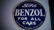 RARE PLAQUE FORD BENZOL EN EMAIL1940 1950 45,5 CM MADE IN USA