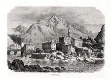 Stampa antica VALSTAGNA veduta con mulini Vicenza 1876 Old print Engraving