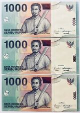 3 X Unc Indonesian 1000 Rupiah Banknotes *Consecutive Numbers 2009 Indonesia