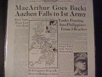 VINTAGE NEWSPAPER HEADLINE ~WORLD WAR 2 MacARTHUR PHILIPPINES RETURN WWII 1944