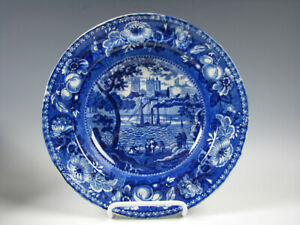 Antique Dark Blue Staffordshire Soup Plate Steamship American Flag York Minster