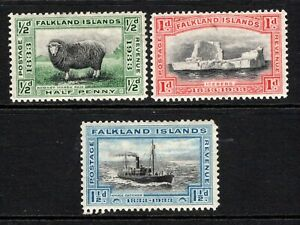 Falkland Islands 1933 British Administration ½d to 1½d SG127-29 M/Mint