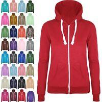 Womens Ladies Girl Plain Hoodie hoody Sweatshirt Hooded Jumper Jacket Zip Up Top
