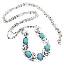 Large Horseshoe Pendant Turquoise Chain Necklace Boho Bohemian Statement Pendant