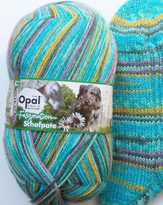 8,95€/100g - Sockenwolle 100g, türkis-gelb-grau, 4-fach, Opal Schafpate (11035)