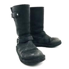 Ugg Australia Kensington Buckle Moto Boots Black Leather Womens Size 7