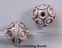 Bali Sterling Silver Circles Round  Bead B1532 (1) 10.5mm
