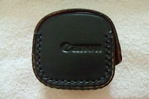 Vintage Canon Black Camera Lens Hard Leather Case Holder With Snap Pouch 50mm