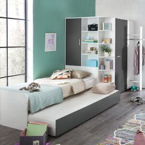 Jugendzimmer Set Joker begehbarer Eckschrank Alpinweiß anthrazit Bett 90x200