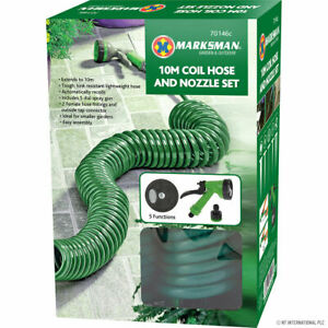10m Retractable Coil Hose Pipe Reel Water Spray Gun Nozzle Set Garden Patio