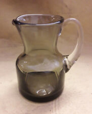 Vintage Whitefriars Small Amber Glass Cream Jug With Clear Applied Handle. 9.5cm