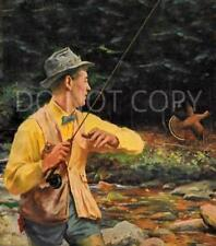 ANTIQUE REPRO PHOTO PRINT FISHERMAN TROUT FLY FISHING FLUSHING RUFFED GROUSE