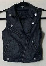 Zara Kids Black Moto Vest Unisex Medium Wrinkle Faux Leather Zip Stud Biker Punk