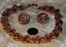 VINT GOLD TONE HEAVY LINK COLLAR NECKLACE+POST GOLD TONE EARRINGS GORGEOUS