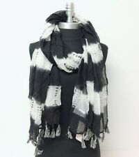 Women Long Printed tie-dye with marled tassels Chiffon Scarf Wrap Shawl Black