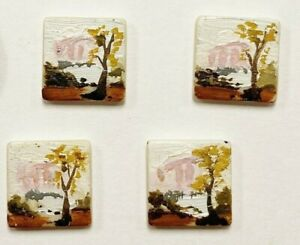 6 VINTAGE ACRYLIC HANDPAINTED JAPANESE NATURE SCENE SQUARE 12mm TILE CAMEOS T277